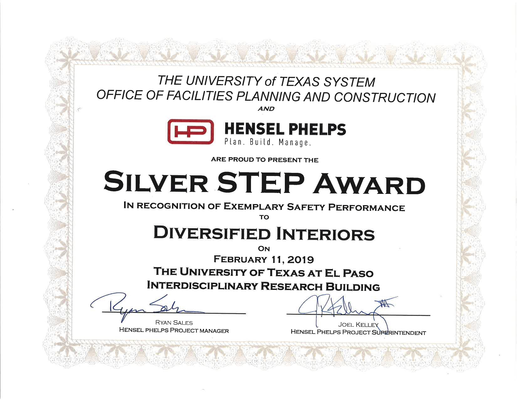 Worker Safety Certificate - Diversified Interiors
