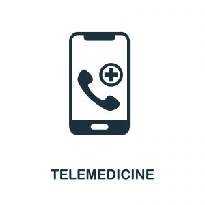 """Black and white graphic of a phone with medical symbols on the screen and """"telemedicine"""" written underneath."""